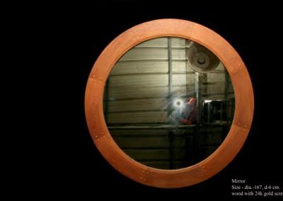 Mirror, exotic wood, 24K gols screws, 2005